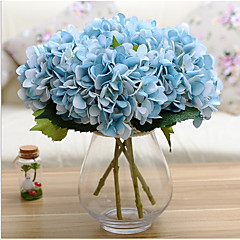 Set of 1 PCS 1 Κλαδί Πολυεστέρας Ορτανσίες Λουλούδι για Τραπέζι Ψεύτικα λουλούδια 17*5.9
