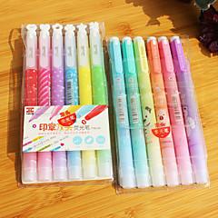 dupla végű fluoreszkáló toll (6db)