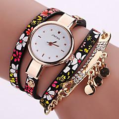 Dame Modeur Armbåndsur Farverig Quartz PU Bånd Vintage Blomst Bohemisk Charm Armbånd Bangles Sej Afslappet Mangefarvet
