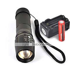 LED zseblámpák Kézi elemlámpák LED 2200 Lumen 5 Mód Cree XM-L T6 18650 AAA 26650 Csúszásgátló markolat Kempingezés/Túrázás/Barlangászat