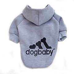 고양이 개 후드 강아지 의류 겨울 모든계절/가을 문자와 숫자 패션 스포츠 그레이 옐로우 레드 핑크 밝은 블루