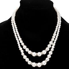 Damskie Pasemka Naszyjniki Warstwy Naszyjniki Pearl imitacja Imitacja pereł Kryształ górski Stop Unikalny Cyrkonie Perła Przyjaźń Modny