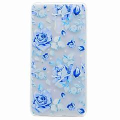 Til Nokia 6 Case Cover Gennemsigtig Mønster Bag Cover Case Blue Rose TPU Soft TPU Taske