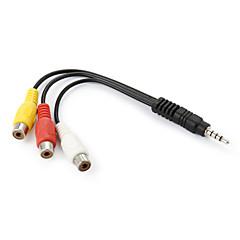 3.5mm plug naar 3-RCA vrouwelijke av adapter kabel - zwart + geel + wit + rood (16cm)