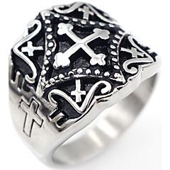 Heren Ring Sieraden Kruis Kostuum juwelen Roestvast staal Kruisvorm Sieraden Voor Speciale gelegenheden  Dagelijks Causaal Kerstcadeaus