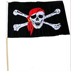 Acessórios de desempenho do partido de Halloween 30 * 45 com bandeira de pirata da haste lenço vermelho pirata crânio bandeira de pirata