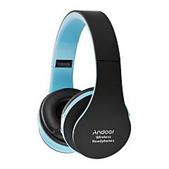 Andoer składane słuchawki bluetooth stereo bluetooth 3.0 głośniki basowe 3.5mm słuchawki przewodowe bez użycia rąk z mikrofonem białe z