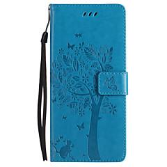 voor case cover kaarthouder portemonnee met tribune flip reliëf volledige body case vlinder boom hard pu leer voor Sony Sony Xperia XZ