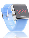 Silicone Band Women Men Unisex Jelly Sport Style Square LED Wrist Watch - Light Blue