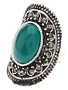 Vintage Tibetan Silver Agate Adjustable Ring