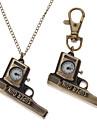 남녀 총 스타일의 합금 아날로그 쿼츠 체인 목걸이 시계 (청동)