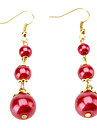 Three layers Of Red Pearl Earrings