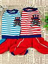 Chien Combinaison-pantalon Rouge Bleu Vetements pour Chien Hiver Printemps/Automne Rayure Decontracte / Quotidien