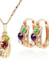 Exquisite Fashion Lovely Crystal Necklace & Earrings Jewelry Set Wholesale