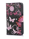 Black Butterflies PU Leather Case Cover with Stand and Card Slot for Sony Xperia E C1605