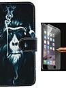 caso de corpo inteiro orangotangos projeto pu couro com pelicula de vidro a prova de explosao para iphone 6 mais