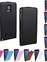 용 Samsung Galaxy Note 플립 케이스 풀 바디 케이스 단색 인조 가죽 Samsung Note 4