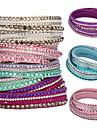 Femme Bracelets Cristal Basique Original Mode Multicouches bijoux de fantaisie Cristal Cuir Forme de Cercle Bijoux Bijoux Pour Soiree