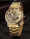 Masculino Relógio de Pulso Quartzo Gravação Oca Aço Inoxidável Banda Dourada Dourado