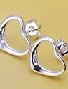 Boucles d\'oreille goujon Plaque argent Forme de Coeur Argent Bijoux 2pcs