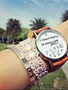 Mulheres Relogio de Moda Bracele Relogio Quartzo Cronografo PU Banda Relogios com Palavras Preta Branco Marrom Branco Preto Marron
