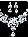 Women\'s Jewelry Set Earrings Bib necklaces Fashion Double-layer Statement Jewelry Costume Jewelry Imitation Diamond Drop Earrings Necklace