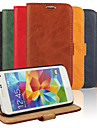 용 삼성 갤럭시 케이스 카드 홀더 / 스탠드 / 플립 케이스 풀 바디 케이스 단색 인조 가죽 Samsung S5 Mini / S4 Mini / S3 Mini