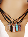 Women\'s Pendant Necklaces Turquoise Crystal Geometric Gemstone Crystal Gem Turquoise Alloy Geometric Vintage Costume Jewelry Fashion