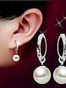 Femme Boucles d\'oreille goutte Perle Basique Pierres de naissance Mode Simple Style bijoux de fantaisie Perle Argent sterling Balle Bijoux