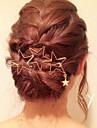 Women Fashion Simple Metal Hollow Stars Pattern Tassels Hairpin Hair Accessories Jewelry 1pc
