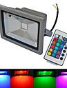 20W LED 투광 조명 1 COB 1500-1600 lm 따뜻한 화이트 / 차가운 화이트 / RGB 리모컨 작동 / 방수 AC 85-265 V 1개