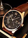 YAZOLE 남성 드레스 시계 캐쥬얼 시계 석영 가죽 밴드 블랙 브라운