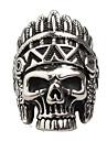 문자 반지 애것(마노) 티타늄 스틸 Skull shape 패션 빈티지 펑크 스타일 개인 실버 보석류 일상 캐쥬얼 1PC