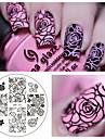 цветок розы ногтей штамповка изображения шаблона плиты родилась довольно п.о.-73 ногтей штамповки пластин маникюрный набор трафаретов