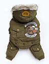 개 코트 후드 점프 수트 강아지 의류 겨울 모든계절/가을 문자와 숫자 패션 캐쥬얼/데일리 그레이 그린