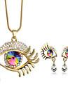 Women\'s Jewelry Set Crystal Pendant Rhinestone Fashion Costume Jewelry Crystal Rhinestone Gold Plated Drop Evil Eye 1 Necklace 1 Pair of
