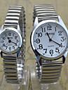 남성 아가씨들 커플용 손목 시계 석영 스테인레스 스틸 밴드 캐쥬얼 실버