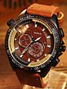 YAZOLE Мужской Армейские часы Наручные часы Кварцевый Кожа Группа Коричневый