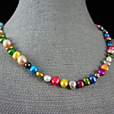 preiswerte iPad Displayschutzfolien-Perle Perlenkette - Perle, Sterling Silber Rosa, Regenbogen Modische Halsketten Für Party, Jahrestag, Geschenk / Alltag