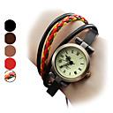 levne Dámské-Dámské Náramkové hodinky japonština Křemenný Pravá kůže Kapela Analogové Cikánské Módní Černá / Hnědá - Červená Světle hnědá Duhová
