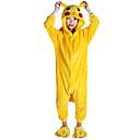 ieftine Machiaj Halloween-Pentru copii Pijama Kigurumi Pika Pika Animal Pijama Întreagă Flanel Lână Galben Cosplay Pentru Baieti si fete Sleepwear Pentru Animale Desen animat Festival / Sărbătoare Costume