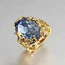 hesapli Yüzükler-Kadın's Bildiri Yüzüğü / Nişan yüzüğü - Kübik Zirconia, Altın Kaplama, 18K Altın Aşk Lüks 6 / 7 / 8 Mavi Uyumluluk Düğün / Parti / Hediye