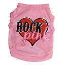 cheap Dog Clothing & Accessories-Cat Dog Shirt / T-Shirt Dog Clothes Heart Letter & Number Pink Terylene Costume For Spring &  Fall