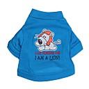 hesapli Köpek Giyim ve Aksesuarları-Kedi Köpek Tişört Köpek Giyimi Harf & Sayı Karton Mavi Pamuk Kostüm Evcil hayvanlar için