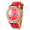 preiswerte Damenuhren-Damen Armbanduhr Quartz Imitation Diamant Leder Band Analog Glanz Freizeit Simulierte Diamant-Uhr Rot - Rot / Edelstahl