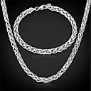 preiswerte Halsketten-u7®cool Männer Edelstahl 316L Link verdreht Kette Halskette Armband für Männer verblassen nie Schmuck-Set