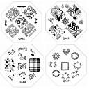 voordelige Nagelstempels-1pc nieuwe nagel stempelen afbeelding platen chique kant bloem liefde plaat voor diy nail art decoraties (assorti patroon)