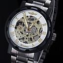 رخيصةأون حافظات / جرابات هواتف جالكسي A-WINNER رجالي ساعة الهيكل ساعة المعصم ووتش الميكانيكية داخل الساعة ميكانيكي يدوي ستانلس ستيل أسود نقش جوفاء مماثل سحر - ذهبي أبيض أسود
