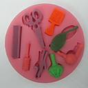 hesapli Fırın Araçları ve Gereçleri-makas saç araçları şeklinde fondan kek çikolata silikon kalıp, kek dekorasyon araçları, l8.2cm * w8.2cm * h0.9cm