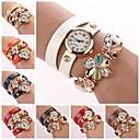 cheap Brooches-Women's Fashion Watch Bracelet Watch Quartz Leather Band Analog Flower Sparkle Black / White / Blue - Red Green Navy